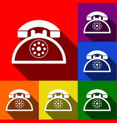 Retro telephone sign  set of icons with vector