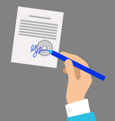 hand with pen signing document on grey background vector image