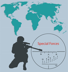 Booklet special forces sniper and world map vector