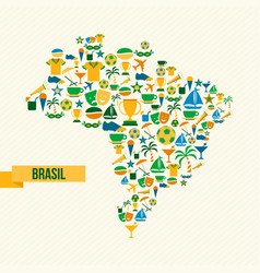 Brazil lifestyle map sport and culture icon set vector