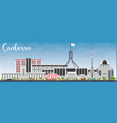 Canberra skyline with gray buildings and blue sky vector