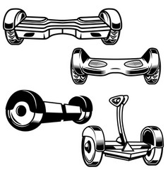 self-balancing electric scooter icons isolated on vector image