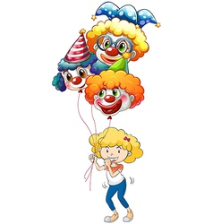 A happy young lady with three balloons vector image