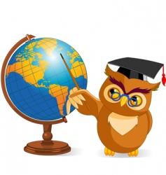 Cartoon wise owl with world globe vector