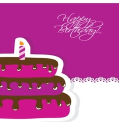Birthday card with cute cake and candle vector image