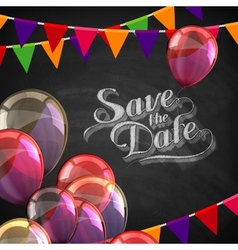 Chalk of save the date label with vector