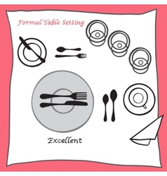 Excellent dining table setting proper arrangement vector