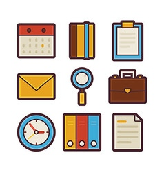Business and office life items modern flat icons vector