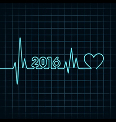 Creative new year 2016 design with heartbeat vector