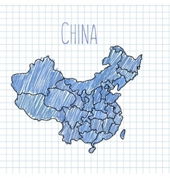 Blue pen hand drawn china map on paper vector