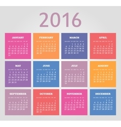 Calendar for 2016 week starts sunday vector