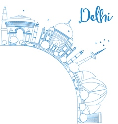 Outline delhi skyline with blue landmarks vector
