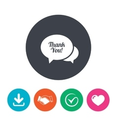 Speech bubble thank you icon customer service vector