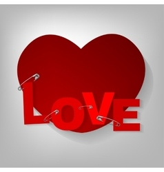 Pinned hearts vector