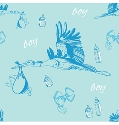 Seamless pattern of stork with baby boy and vector