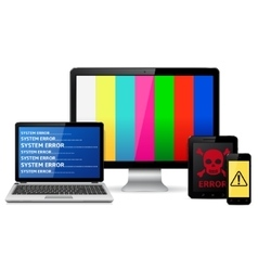 Destroyed digital devices vector