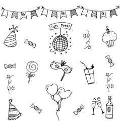 Party set doodle art vector