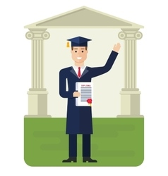 Student received diploma vector