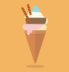 Pastel color of ice cream cone vector
