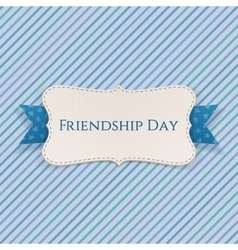 Friendship day festive label with ribbon vector