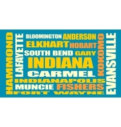 Indiana state cities list vector