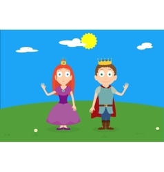 Cartoon characters of princess and prince on green vector