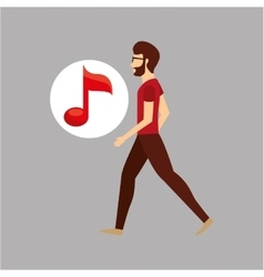 Character bubble speech with music note vector