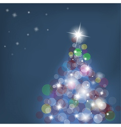 Christmas tree with blurred lights on blue vector image vector image