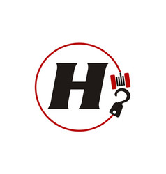Crane hook towing letter h vector