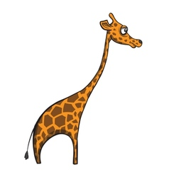 Funny cartoon giraffe on white background vector image