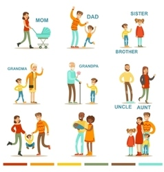 Happy large family with all the relatives vector