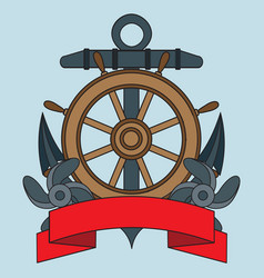 icon on the sea theme lifebuoy anchor steering vector image