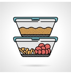 Lunch box flat color icon vector