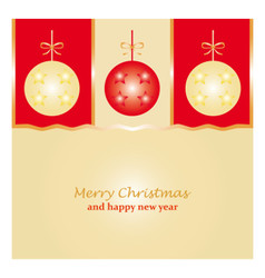 merry christmas and happy new year with red and vector image