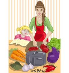 Mum and daughter cooking vector