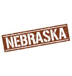 Nebraska brown square stamp vector