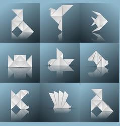 Origami icon ship pajarita pigeon fish vector