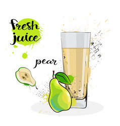 pear juice fresh hand drawn watercolor fruit and vector image