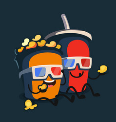 popcorn and soda characters best friends vector image vector image