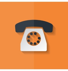 Retro telephone web icon flat design vector