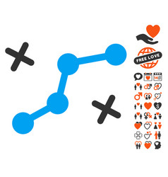 Route points icon with dating bonus vector