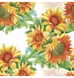 Seamless pattern with yellow sunflowers painted in vector