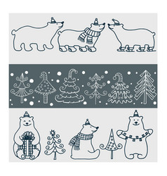 set of icons of polar bears and christmas vector image