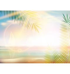 Sunrise on caribbean beach design template vector