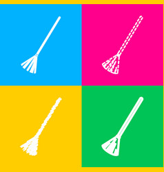 Sweeping broom sign four styles of icon on four vector