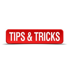 Tips and tricks red 3d square button isolated on vector