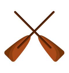 Two wooden crossed boat oars sport vector