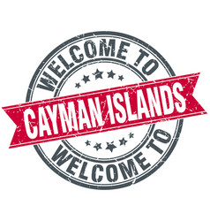 Welcome to cayman islands red round vintage stamp vector