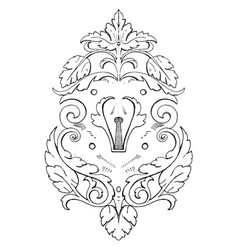 Wrought-iron escutcheon strap-work tablet was of vector