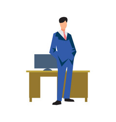 Young businessman near table in flat design vector
